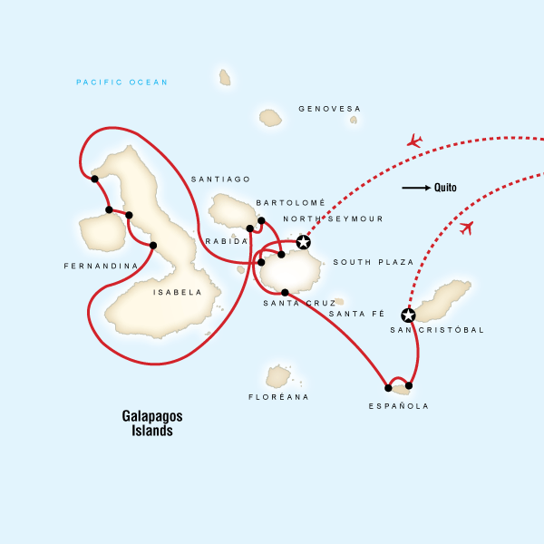 Map of the route for Galápagos — West & Central Islands aboard the Evolution