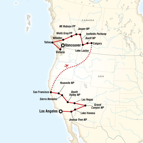 map of the route for west coast discovery us canada