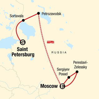 Map of Back Roads of Russia: St Petersburg - Moscow