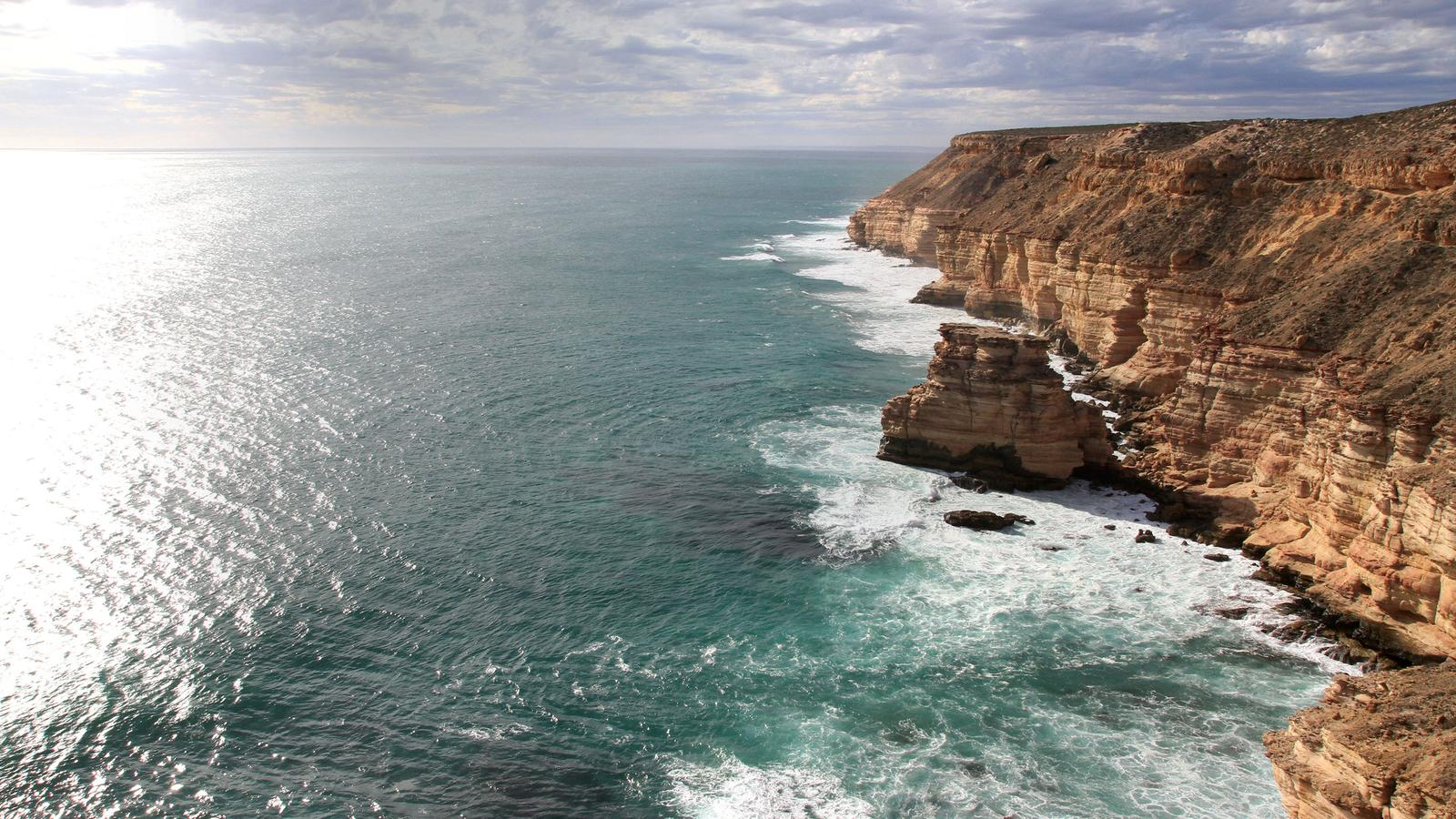 An aerial view of the giant Kalbarri coastal cliffs, Australia