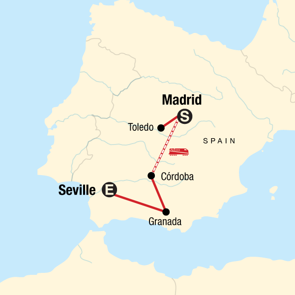 Map Of Spain Showing Seville.Discover Moorish Spain In Spain Europe G Adventures