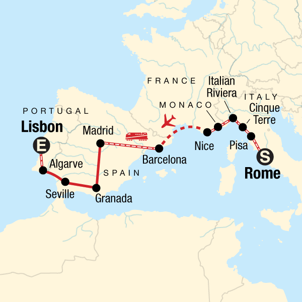 Lisbon Spain Map.Rome To Lisbon On A Shoestring In Spain Europe G Adventures