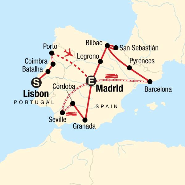 Map Of Spain Showing Seville.Ultimate Spain Portugal In Spain Europe G Adventures