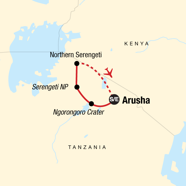 Map of the route for Serengeti Migration Safari