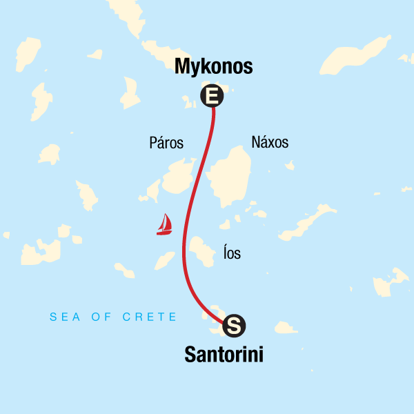 Map of the route for Sailing Greece - Santorini to Mykonos