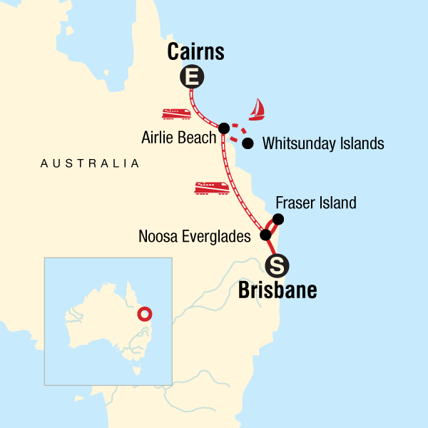 Australia Map Cairns.Brisbane To Cairns Experience In Australia Australia Pacific G