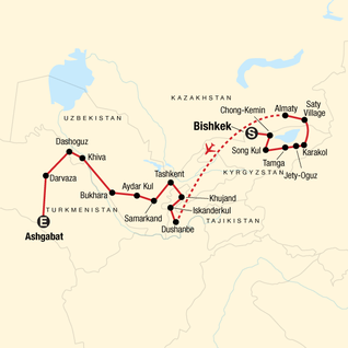 Map of The Five Stans of the Silk Road