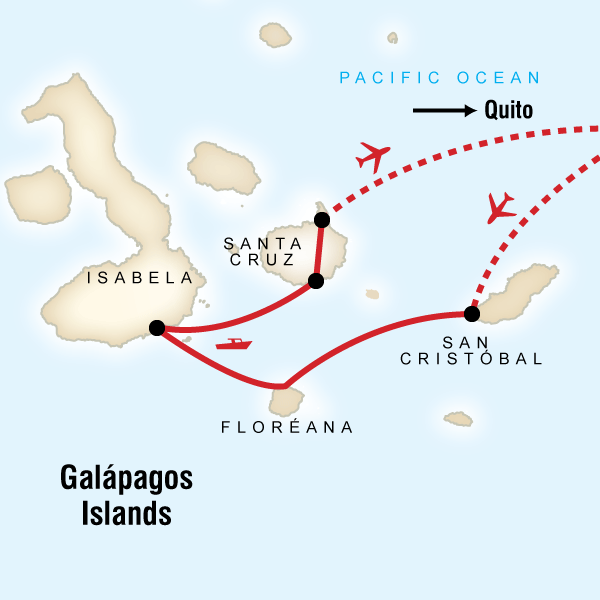 Map of the route for Galápagos Adventure: Snorkelling & Sea Lions