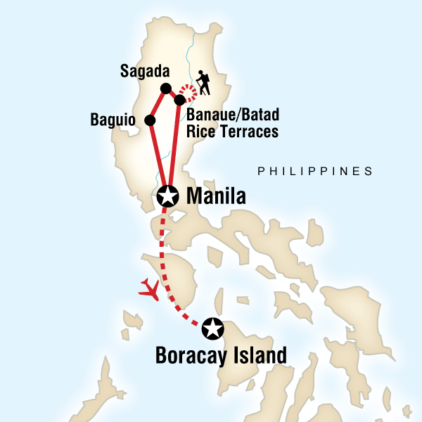 Map of the route for Philippines–Manila to Boracay on a Shoestring