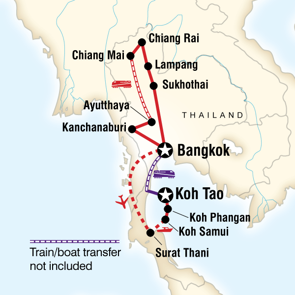 Map of the route for Best of Thailand – East Coast Islands