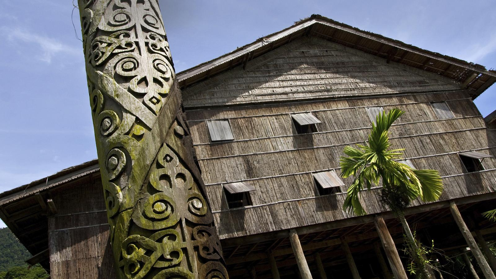 Iban tribe longhouse in Borneo