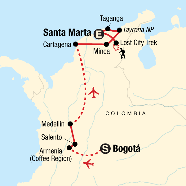 Map of the route for Colombian Culture, Caribbean & Lost City
