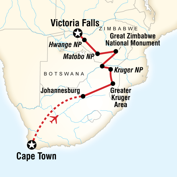 Map of the route for Cape Town, Kruger & Zimbabwe