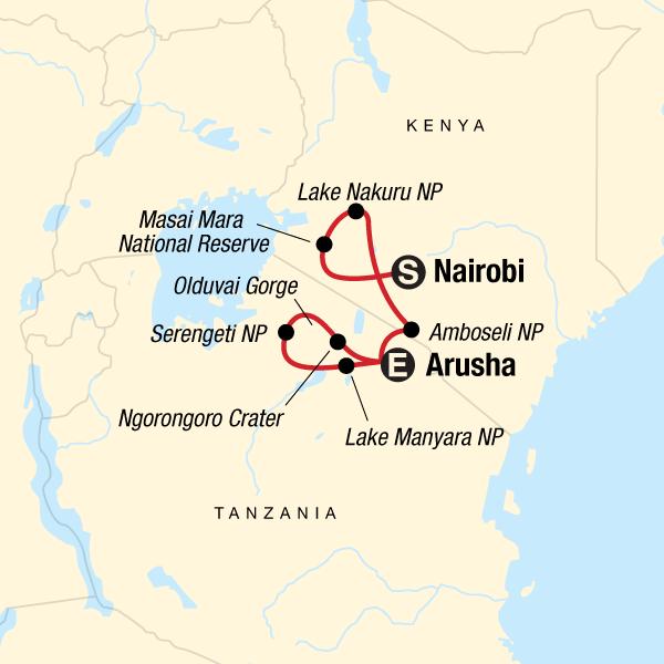 Map of the route for Safari in Kenya & Tanzania