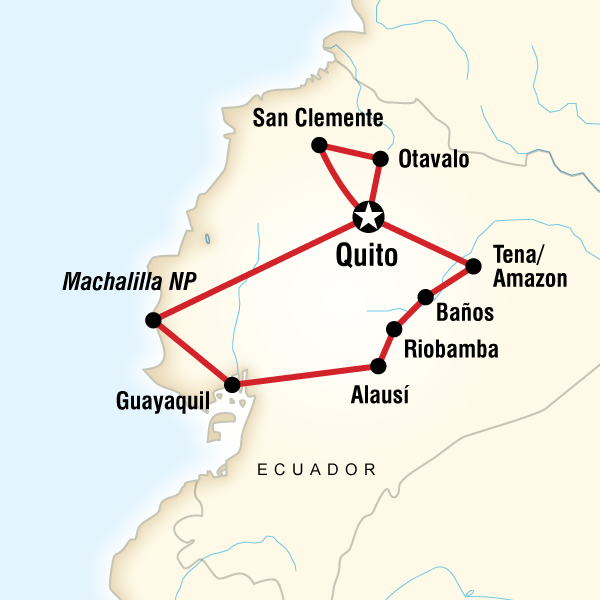 Map of the route for The Ecuador Experience