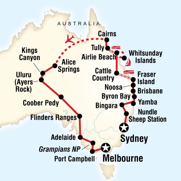 Map 8f Australia.Tours Of Australia