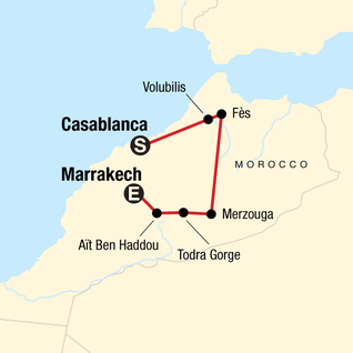 Map of Morocco Kasbahs and Desert — Plus