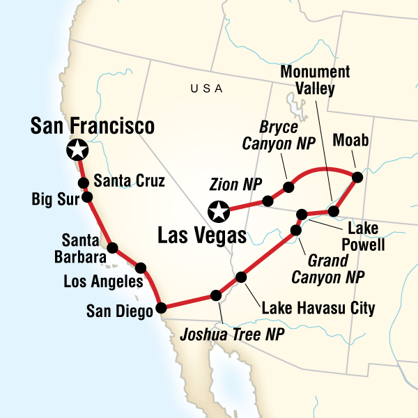 Map of the route for Canyon Country & Coasts – Las Vegas to San Francisco