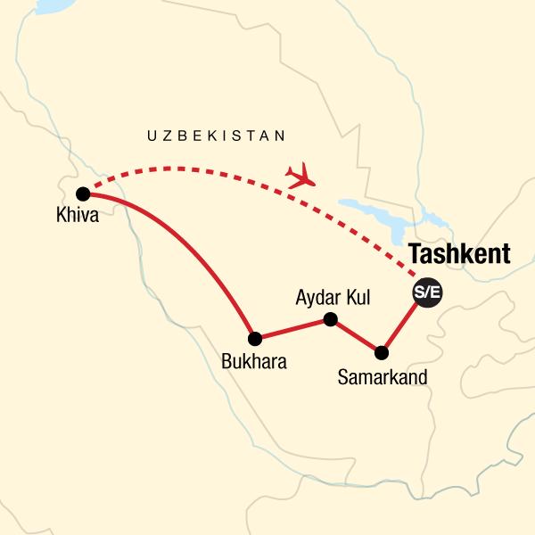 Usbekistan Karte.Die Highlights Von Usbekistan