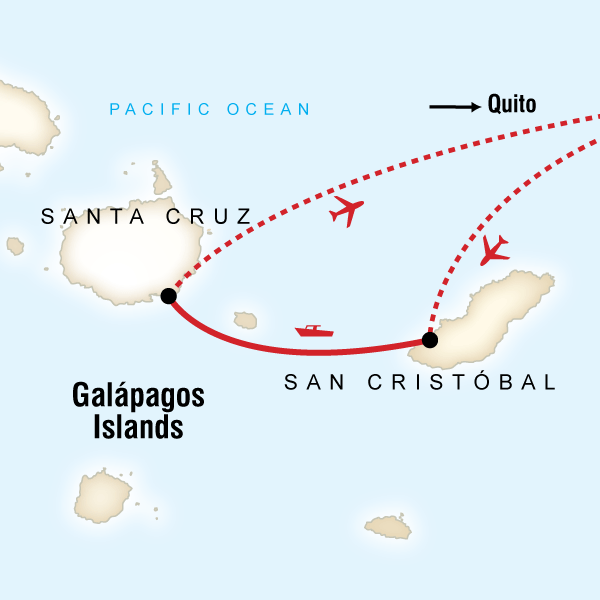 Map of the route for Family Land Galápagos — Multi-Activities