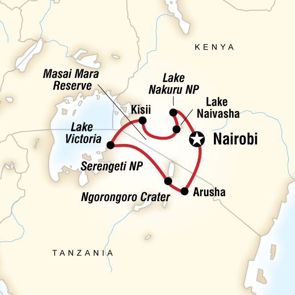 Map of the route for Kenya & Tanzania Overland