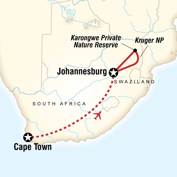 Map of the route for Cape Town & Kruger Encompassed