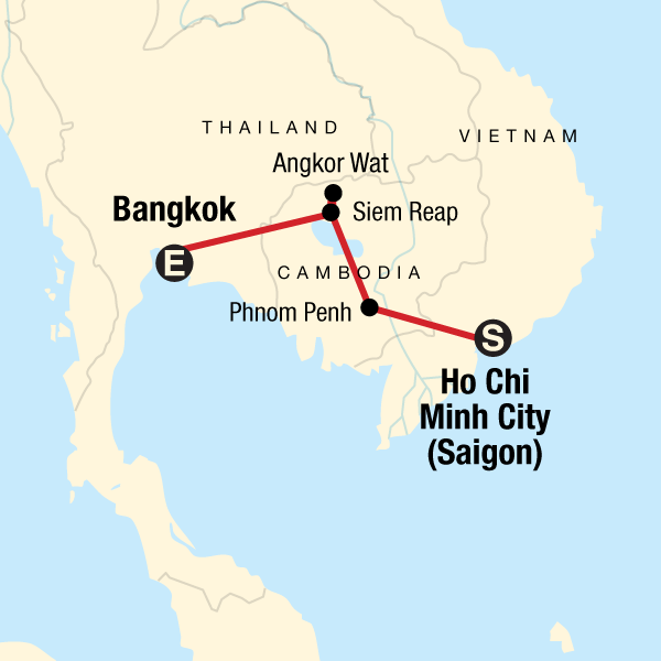 Map of the route for Cambodia Experience