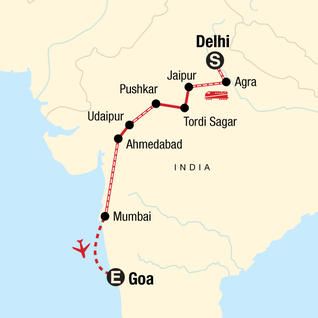 Map of Uncover India: High Deserts & Markets