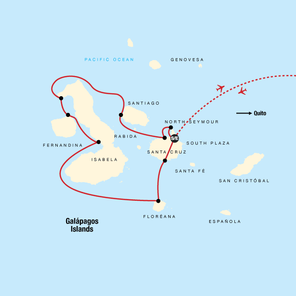 Map of the route for Galápagos – West and Central Islands aboard the Reina Silvia Voyager