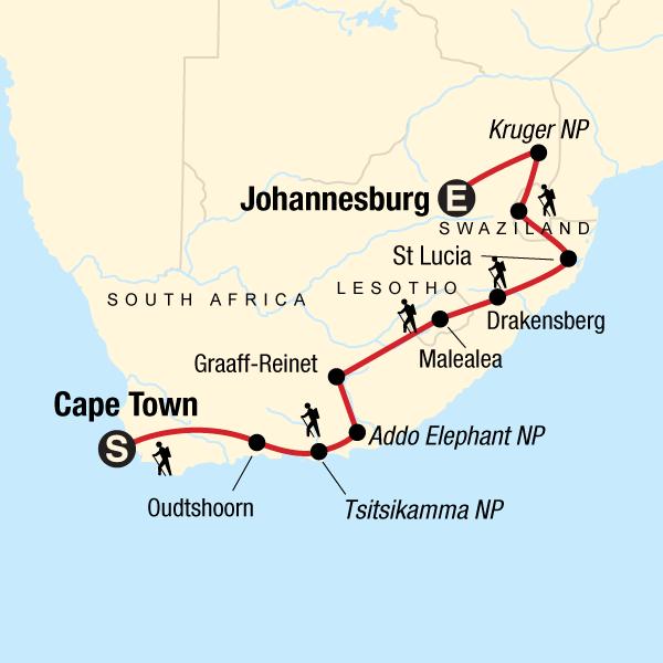 Südafrika Karte.Wandern In Südafrika
