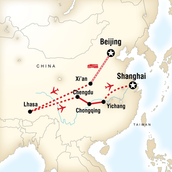 Iconic china beijing to tibet in china asia g adventures map of the route for iconic china beijing to tibet gumiabroncs