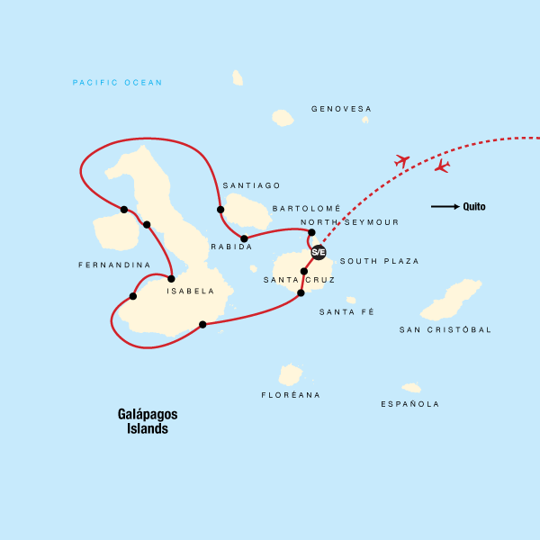 Map of the route for Galápagos — West & Central Islands aboard the Eden