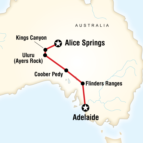 Map of the route for The Red Centre to Adelaide