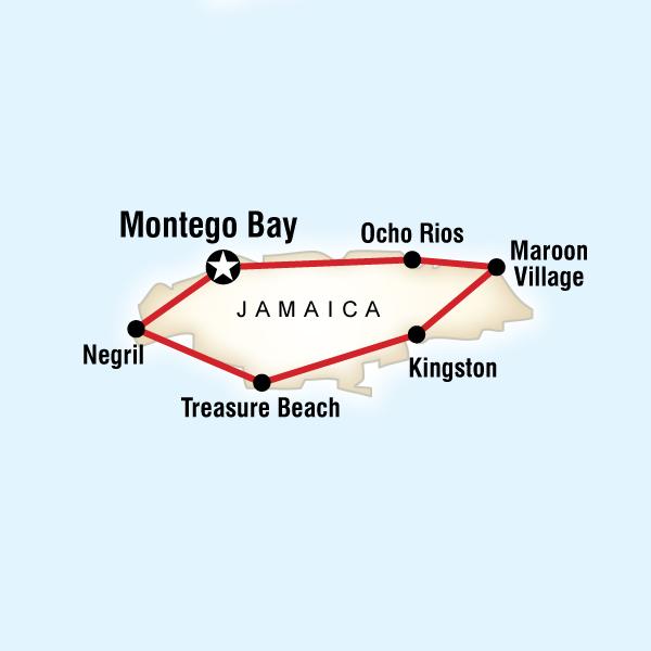 Map of the route for Jamaica Encompassed & Reggae Sumfest