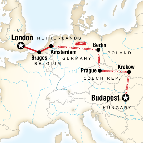 Budapest On Europe Map.Budapest To London On A Shoestring In Italy Europe G Adventures
