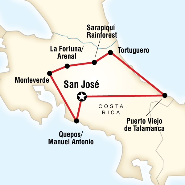 Map of the route for Costa Rica Adventure