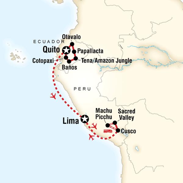 Explore ecuador peru in ecuador south america g adventures map of the route for explore ecuador peru gumiabroncs Choice Image