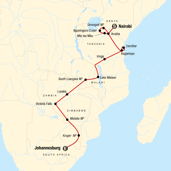 Map of the route for Nairobi to Joburg Overland: Craters & Camping