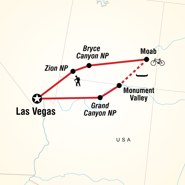 Map Of The Route For Usa Hike Bike Raft
