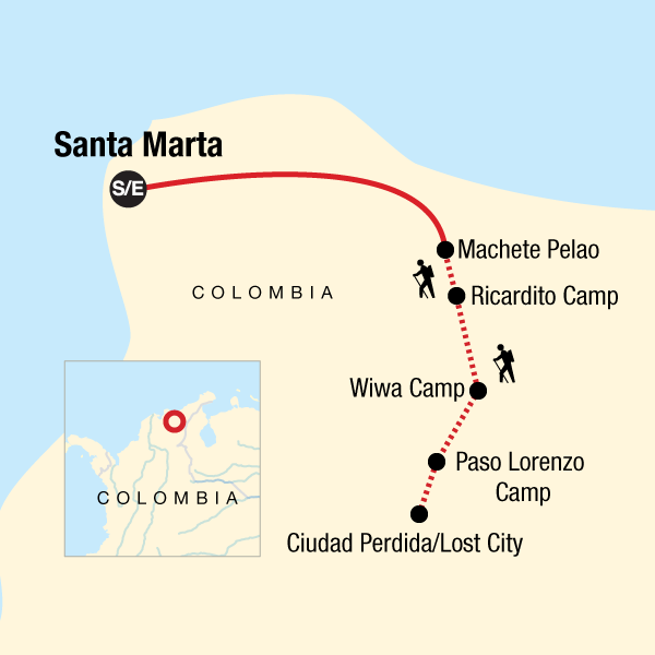 Map of the route for Colombia -  Lost City Trekking