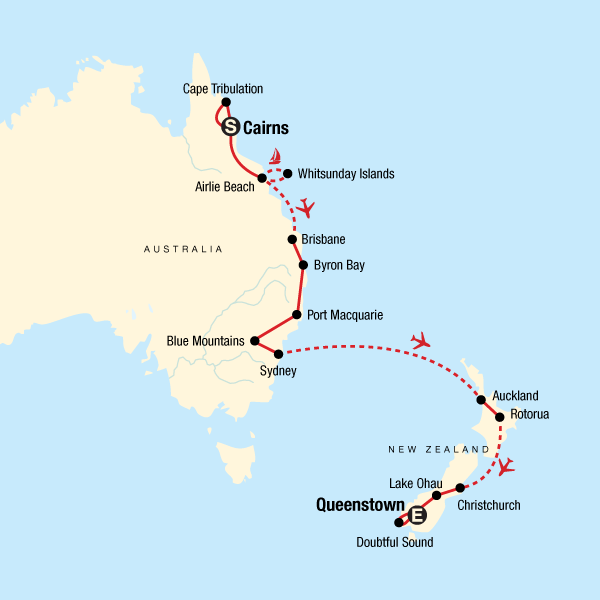 Map of the route for Australia & New Zealand Discovery — Plus