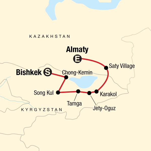 Map of the route for Highlights of Kyrgyzstan and Kazakhstan