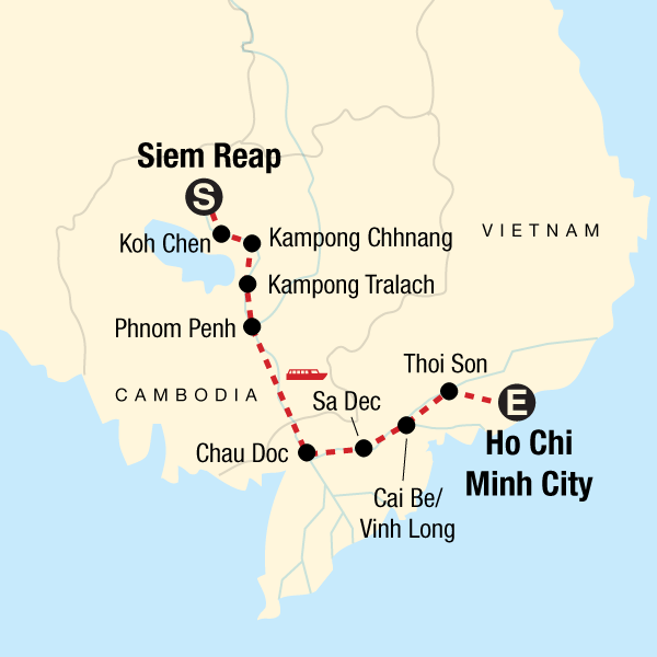 Map of the route for Mekong River Experience – Siem Reap to Ho Chi Minh City