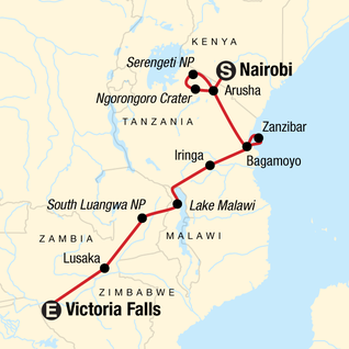 Map of Serengeti to Victoria Falls Overland: Night Stars & Spices