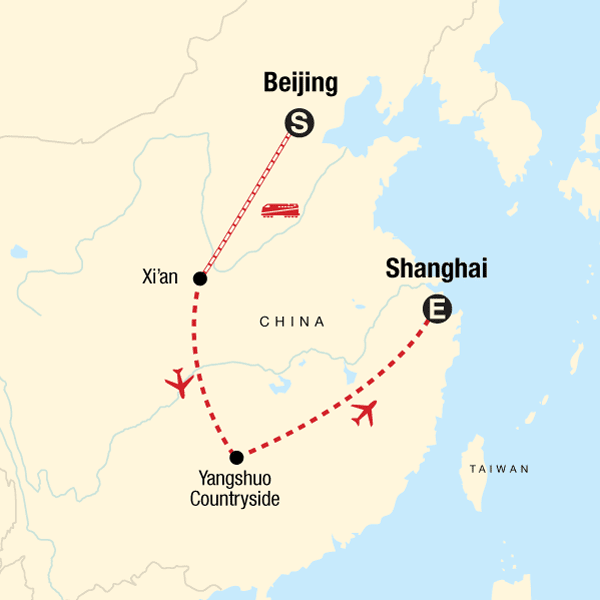 Map of the route for Best of China