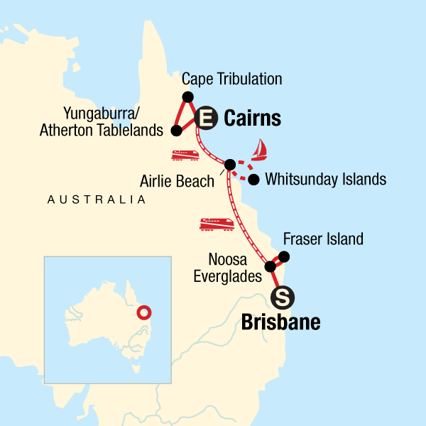 Map of the route for Queensland: Sand & Sailing