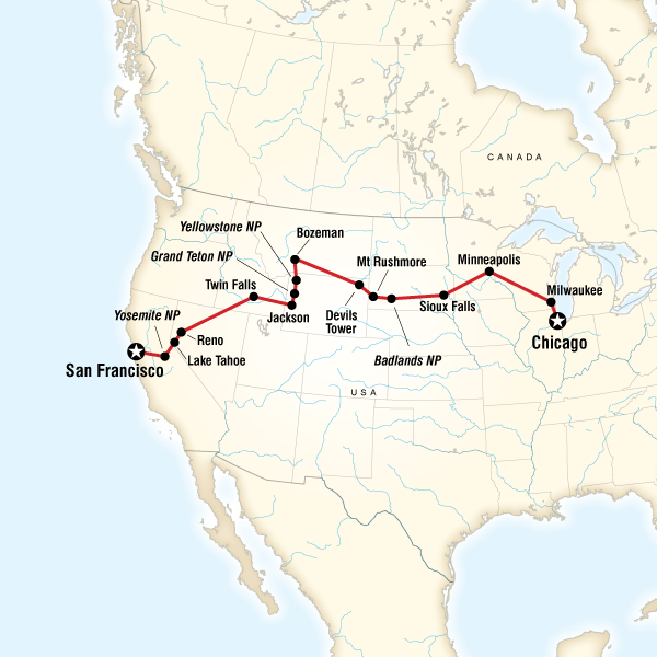 Map of the route for Chicago to San Francisco Road Trip