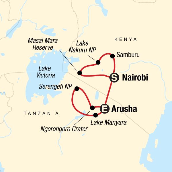 Mount Kenia Karte.Kenia Tansania Camping Safari