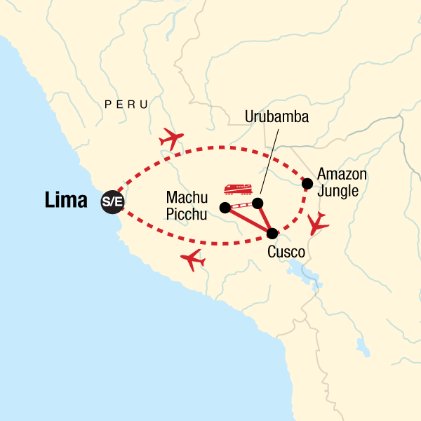 Map of the route for Peru Family Experience