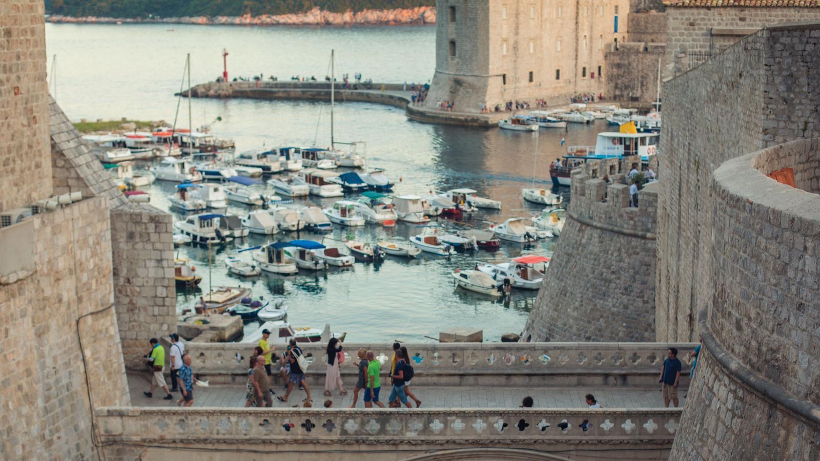 Sunset bridge crossing in Dubrovnik, Croatia